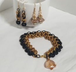 Black and Gold Elegance - Bracelet & Earring(s) Set